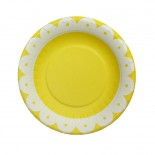 Prato de Papel Premium Onda Amarelo