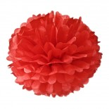 Pompom de Papel de Seda Vermelho 37cm