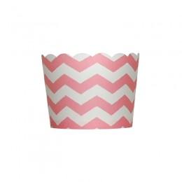 Forminhas para Cupcake de Papel Rosa Claro Chiclete Zig Zag