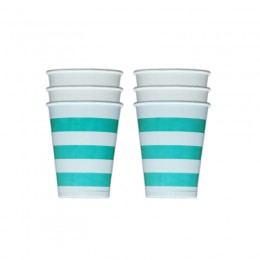Copos de Papel Horizontal Azul Tiffany 08 Unidades