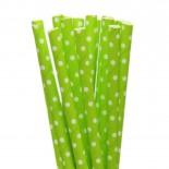 Canudos de Papel Mini Poa Verde Limão