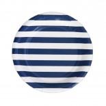 Prato de Papel Listrado Azul Marinho 19cm