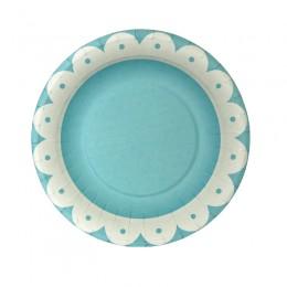 Prato de Papel Premium Onda Azul