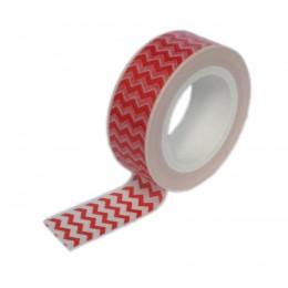 Fita Adesiva Washi Tape Mini Zig Zag Vermelha 10 metros