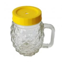 Caneca de Vidro Mason Jar Abacaxi