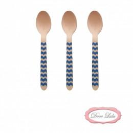 Colheres de Madeira Zig Zag Azul Marinho 10 uni
