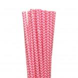 Canudos de Papel Zig Zag Rosa Pink