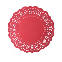 Toalha de Papel Rendada Vermelha 16,5cm