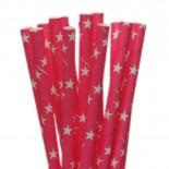 Canudos de Papel Estrela Rosa Pink