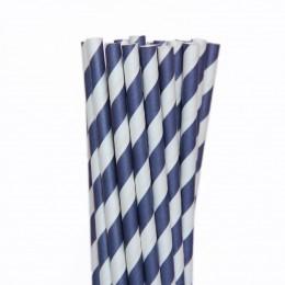 Canudos de Papel Listrados Azul Marinho 12 Uni