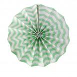 Leque de Papel Verde Claro Zig Zag 35cm