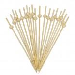 Espetinho Palito de Bambu Bolinha para Petiscos 12cm com 20un