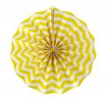 Leque de Papel Amarelo Zig Zag 35cm