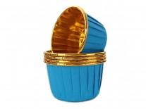 Forminhas para Cupcake Forneáveis Azul Lisa com Dourado 20 uni