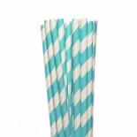 Canudos de Papel Listrado Azul Tiffany 20 Uni