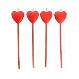 Vela Palito Coração Vermelho com 4un