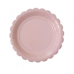 Prato de Papel Carrossel Liso Rosa Claro 19cm