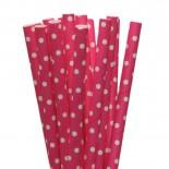 Canudos de Papel Mini Poa Rosa Pink