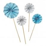 Conjunto Leque Topo para Bolo Azul com Branco