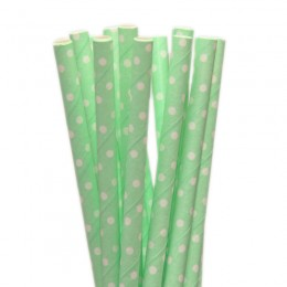 Canudos de Papel Mini Poa Verde Claro