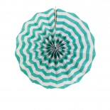 Leque de Papel Azul Tiffany Zig Zag 20cm