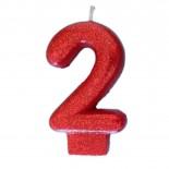 Vela Número 2 Vermelha Glitter 8cm
