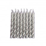 Vela Aspiral Metalizada Prata 8cm com 8un