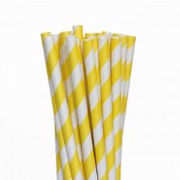 Canudos de Papel Listrado Amarelo