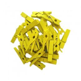 Prendedor de Madeira Amarelo 3,5cm com 50