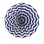 Leque de Papel Azul Marinho Zig Zag 35cm
