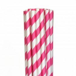 Canudos de Papel Listrado Rosa Pink
