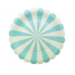Prato de Papel Listrado Carrossel Azul Claro 19cm