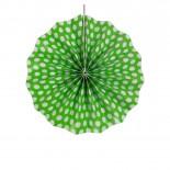 Leque de Papel Verde Limão Poá 20cm