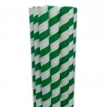 Canudos de Papel para Milkshake Listrado Verde 20 uni