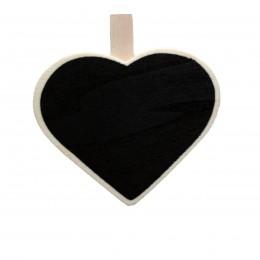 Mini Quadro Negro de Madeira Coração