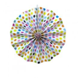 Leque de Papel Colorido Poá 20cm
