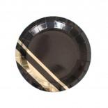 Prato de Papel Laminado Dourado com Preto 18cm com 10 Un