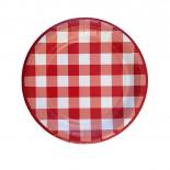 Prato de Papel Xadrez Vichy Vermelho 19cm