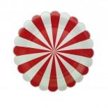 Prato de Papel Listrado Carrossel Vermelho 19cm