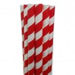 Canudos de Papel para Milkshake Listrado Vermelho 20 uni