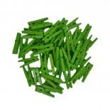 Mini Prendedor de Madeira Verde 2,5cm com 50un