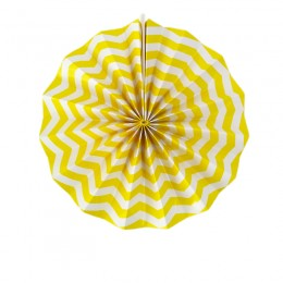 Leque de Papel Amarelo Zig Zag 20cm