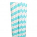 Canudos de Papel para Milkshake Listrado Azul Claro 20 uni