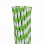 Canudos de Papel Listrado Verde Limao