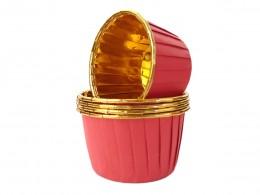 Forminhas para Cupcake Forneáveis Vermelha Lisa com Dourado 20 uni