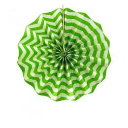 Leque de Papel Verde Limão Zig Zag 20cm