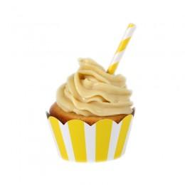 Wrappers para Cupcake Listrados Amarelo 12 Uni