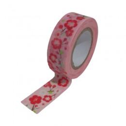 Fita Adesiva Washi Tape Flores Fundo Rosa 7 metros