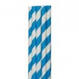 Canudos de Papel Listrado Azul Royal
