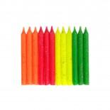 Vela Palito Colorida Neon Glitter 8cm com 12un